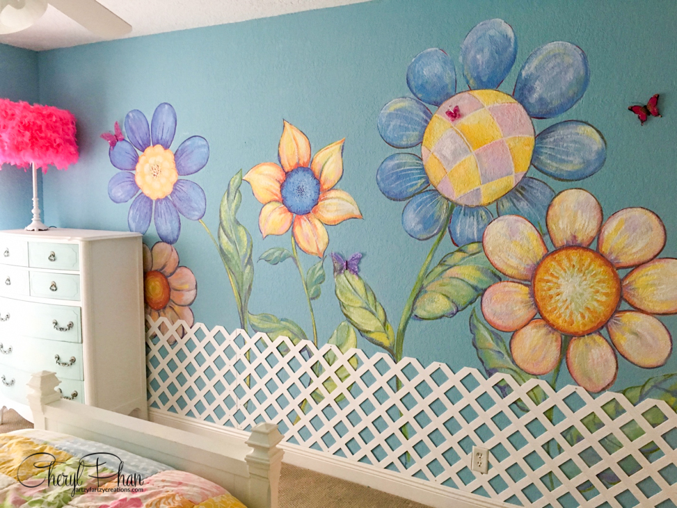 Painted Garden Girls Bedroom Ideas | Cheryl Phan
